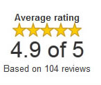 Google Checkout Customer Rating 4.9 out of 5 - Based on more than 100 Reviews